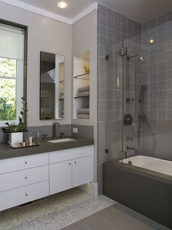 Construction Blog Bay Cities Construction Storage - Small bathroom remodel gray and white