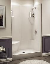 prefab shower stall with bench