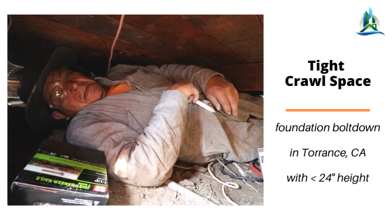 crawl space worker  - bay cities construction - retrofit pros