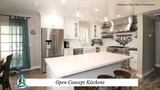 open concept kitchen - bay cities construction