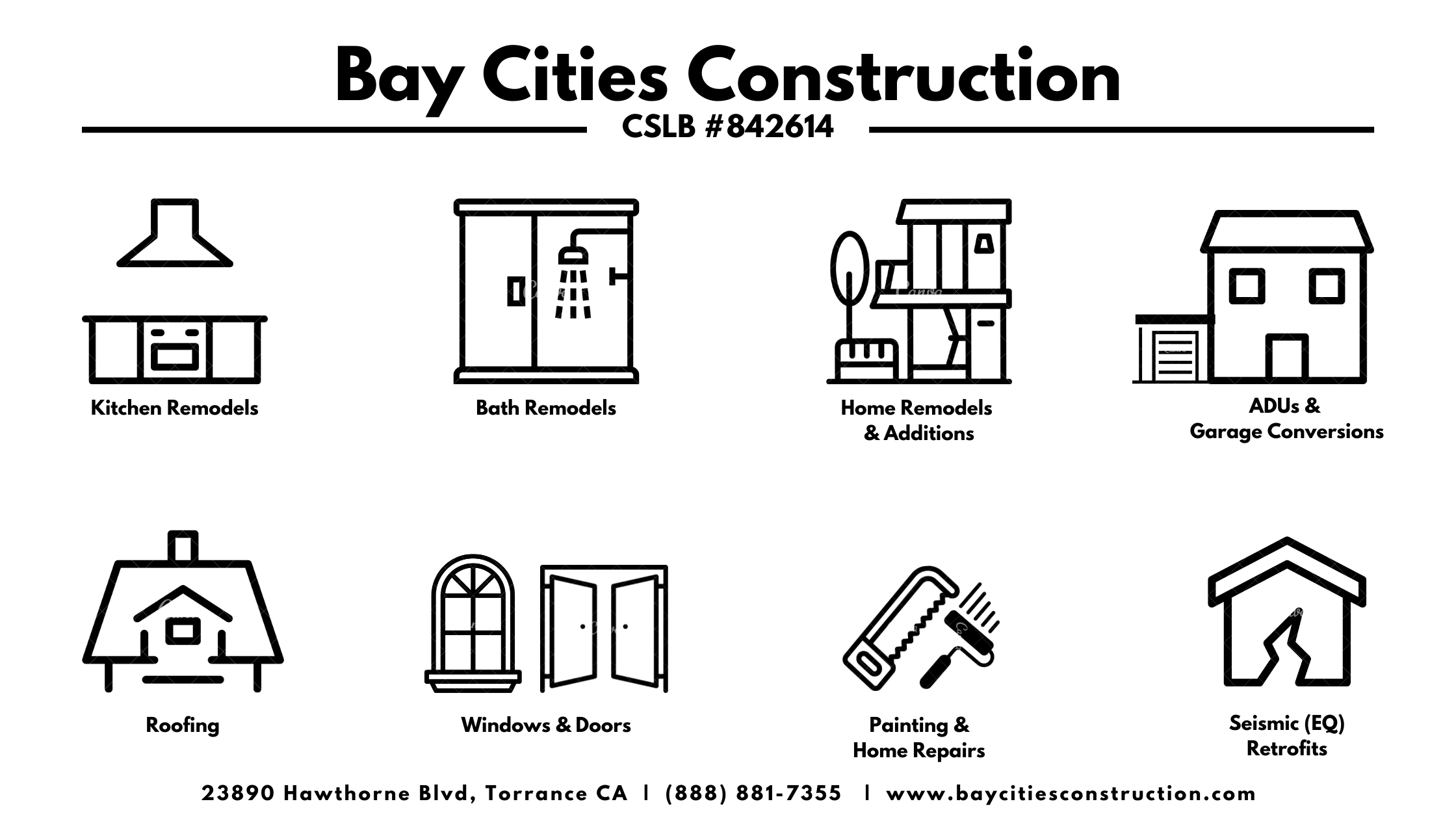 bay cities construction - general contractor near me - kitchen bath remodel - addition - adu - roof - windows - painting - earthquake retrofit